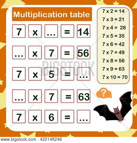 Vector Illustration Of The Multiplication Table By 7 With A Task To Consolidate The Knowledge Of Mul