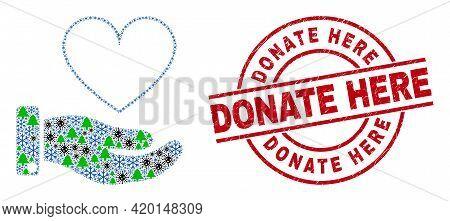 Winter Coronavirus Collage Heart Donation Hand, And Grunge Donate Here Red Round Stamp Imitation. Mo