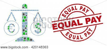Winter Covid-2019 Collage Compare Euro Dollar, And Scratched Equal Pay Red Round Stamp Print. Collag
