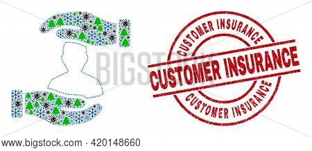 Winter Covid Collage Customer Care Hands, And Unclean Customer Insurance Red Round Watermark. Collag