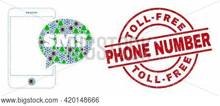 Winter Viral Collage Smartphone Sms, And Textured Toll-free Phone Number Red Round Stamp Seal. Colla