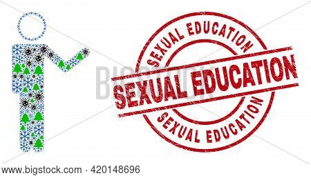 Winter Covid Collage Person Show, And Textured Sexual Education Red Round Stamp Print. Collage Perso