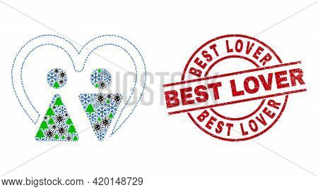 Winter Covid-2019 Mosaic Married Persons, And Dirty Best Lover Red Round Stamp Print. Mosaic Married