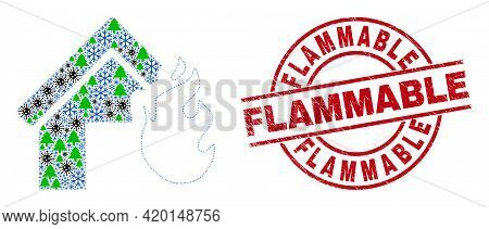 Winter Pandemic Collage House Fire Disaster, And Flammable Red Round Stamp Seal. Collage House Fire