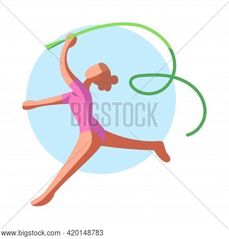 Isolated Female Athlete Character Icon Practicing Athletic Vector Illustration