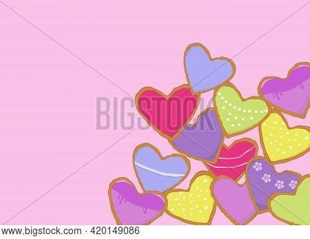 Many Beautiful Multi-colored Gingerbreads In The Form Of Hearts