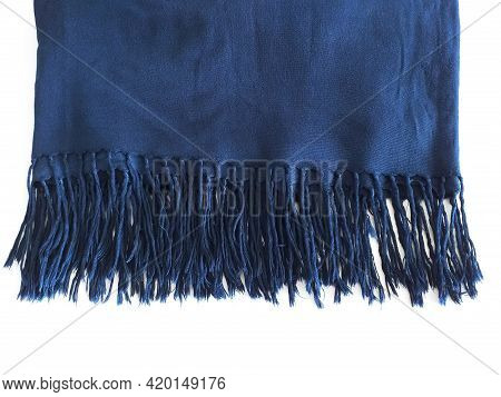 Warm Blanket With Blue Fringes Isolated. Close Up Of Fringed Cotton Fabric. Soft, Folded And Decorat