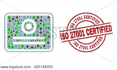 Winter Pandemic Collage Certificate, And Unclean Iso 27001 Certified Red Round Watermark. Collage Ce