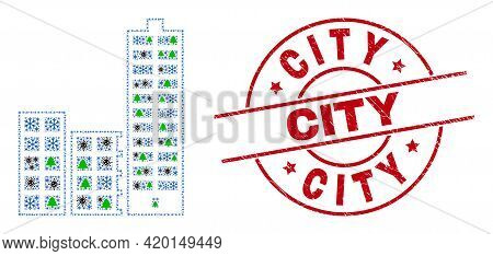 Winter Covid Collage City Buildings, And Distress City Red Round Stamp. Collage City Buildings Is Cr