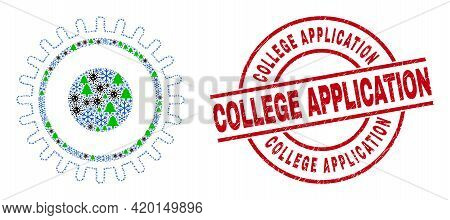 Winter Coronavirus Collage Gear, And Grunge College Application Red Round Stamp Seal. Collage Gear I