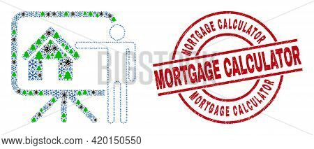 Winter Viral Mosaic Realtor Public Report, And Mortgage Calculator Red Round Stamp. Collage Realtor