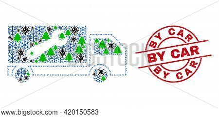 Winter Covid Collage Repair Lorry, And Scratched By Car Red Round Stamp Imitation. Collage Repair Lo