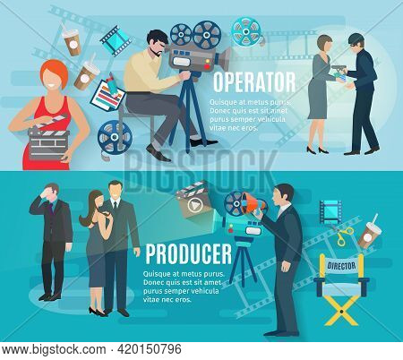 Film Shooting Horizontal Banners Set With Operator Producer And Actors Flat Isolated Vector Illustra