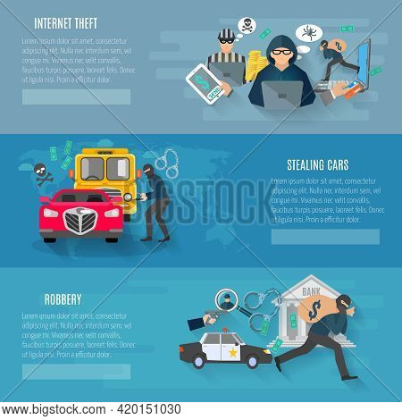 Thief And Robbery Horizontal Banners Set With Stealing Cars And Internet Theft Flat Isolated Vector