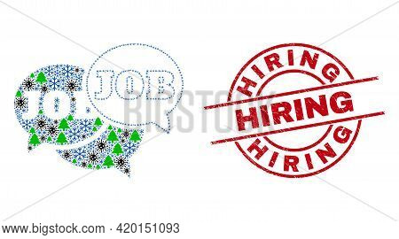 Winter Covid-2019 Collage Job Forum Messages, And Hiring Red Round Stamp. Collage Job Forum Messages