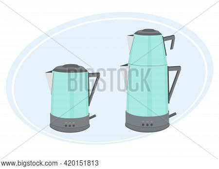 Vector Illustration Of A Turkish Double Teapot. One For Boiling Water, Another For Tea Leaves