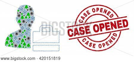 Winter Covid Combination Person Case, And Scratched Case Opened Red Round Stamp Seal. Collage Person