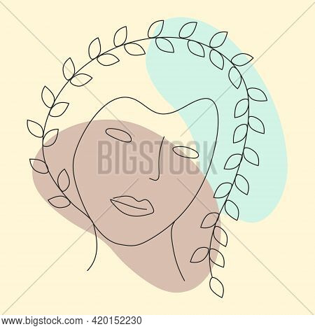 A Girl With A Hairdo From A Branch In The Style Of Line Art. Design For Printing On Clothes. Abstrac
