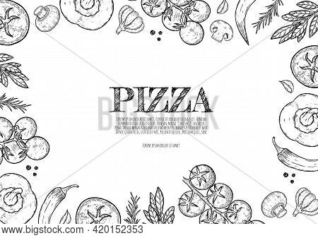 Vector Background With Cheese, Tomato, Pepper, Thyme, Basil, Garlic, Mushrooms, Onion Is Flowing Dow