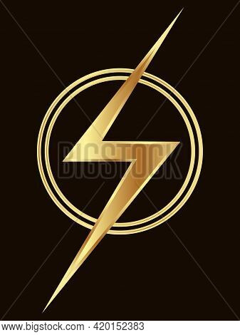 An Abstract Symbol In The Form Of A Sign Symbolizing Lightning In Golden Tones For Prints On Clothes