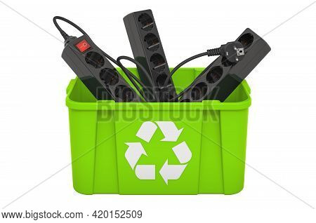 Recycling Trashcan With Surge Protector, Spike Suppressor. 3d Rendering Isolated On White Background