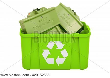 Recycling Trashcan With Anti-personnel Mine. 3d Rendering Isolated On White Background