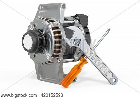 Service And Repair Of Starter. 3d Rendering Isolated On White Background