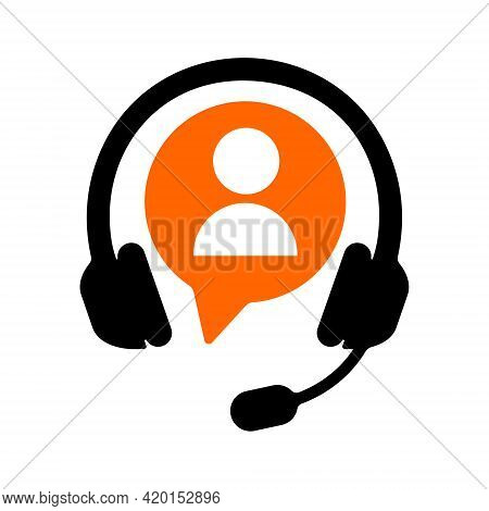 Hotline Symbol With Headphones And Customer Icon Isolated On White Background. Call Center Sign. Cli