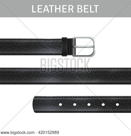 Black Leather Belt With Buckle And Title Realistic Set Isolated Vector Illustration