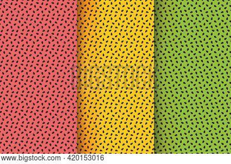 Tropical Fruit Seamless Pattern Set. Watermelon, Maracuya, Kiwi Texture. Exotic Summer Print With Br