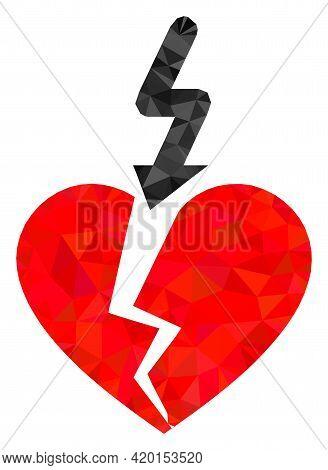 Triangle Break Love Heart Polygonal Icon Illustration. Break Love Heart Lowpoly Icon Is Filled With