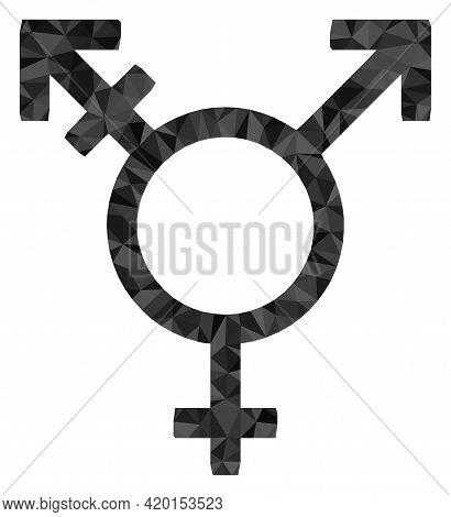 Triangle Three Gender Symbol Polygonal Symbol Illustration. Three Gender Symbol Lowpoly Icon Is Fill
