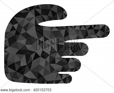 Triangle Right Index Finger Polygonal Icon Illustration. Right Index Finger Lowpoly Icon Is Filled W