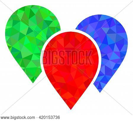 Triangle Map Pointer Group Polygonal Symbol Illustration. Map Pointer Group Lowpoly Icon Is Filled W