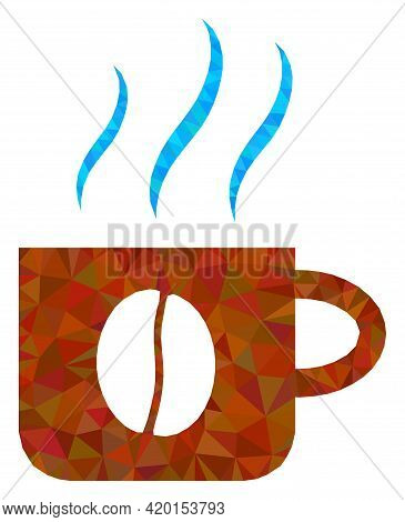 Triangle Hot Coffee Cup Polygonal Symbol Illustration. Hot Coffee Cup Lowpoly Icon Is Filled With Tr
