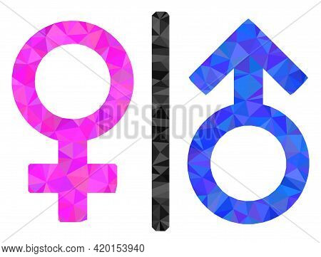 Triangle Toilet Gender Symbol Polygonal Symbol Illustration. Toilet Gender Symbol Lowpoly Icon Is Fi