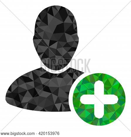 Triangle Add User Polygonal Icon Illustration. Add User Lowpoly Icon Is Filled With Triangles. Flat