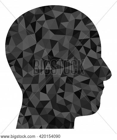 Triangle Man Profile Polygonal Icon Illustration. Man Profile Lowpoly Icon Is Filled With Triangles.