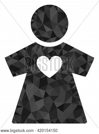 Triangle Girlfriend Polygonal Symbol Illustration. Girlfriend Lowpoly Icon Is Filled With Triangles.