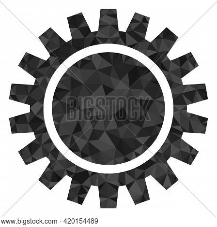 Triangle Cogwheel Polygonal Symbol Illustration. Cogwheel Lowpoly Icon Is Filled With Triangles. Fla