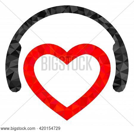 Triangle Romantic Dj Headphones Polygonal Icon Illustration. Romantic Dj Headphones Lowpoly Icon Is