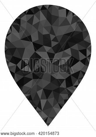 Triangle Map Marker Polygonal Icon Illustration. Map Marker Lowpoly Icon Is Filled With Triangles. F