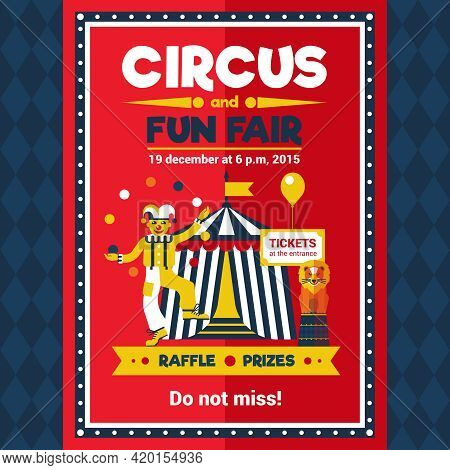 Funfair Chapiteau Travelling Circus Performance Announcement Retro Style Red Poster With Lion And Cl