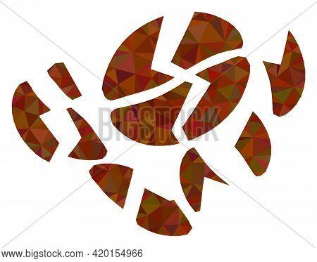 Triangle Coffee Bean Destruction Polygonal Symbol Illustration. Coffee Bean Destruction Lowpoly Icon
