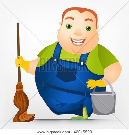 Cartoon Character Cheerful Chubby Men. ���?leaner. Vector Illustration. EPS 10.