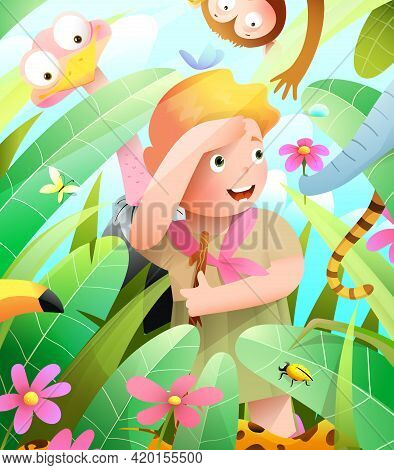 Girl Scout In African Jungle Adventure, Playing Hide And Seek With Animals. Jungle Animals Elephant,