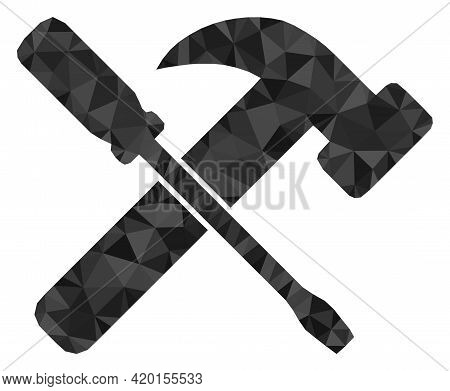 Triangle Hammer And Screwdriver Polygonal Symbol Illustration. Hammer And Screwdriver Lowpoly Icon I