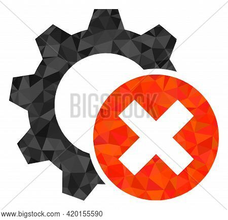 Triangle Delete Settings Gear Polygonal Icon Illustration. Delete Settings Gear Lowpoly Icon Is Fill