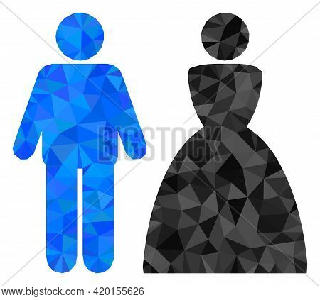 Triangle Wedding Couple Polygonal Symbol Illustration. Wedding Couple Lowpoly Icon Is Filled With Tr