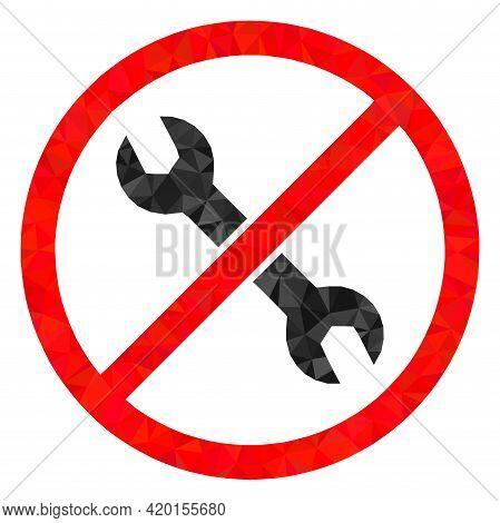 Triangle Forbidden Repair Polygonal Icon Illustration. Forbidden Repair Lowpoly Icon Is Filled With